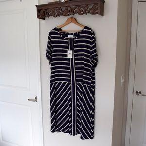 NWT {Calvin Kline} Striped Navy Dress